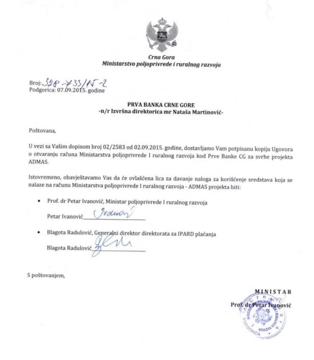 Petar Ivanović dopis