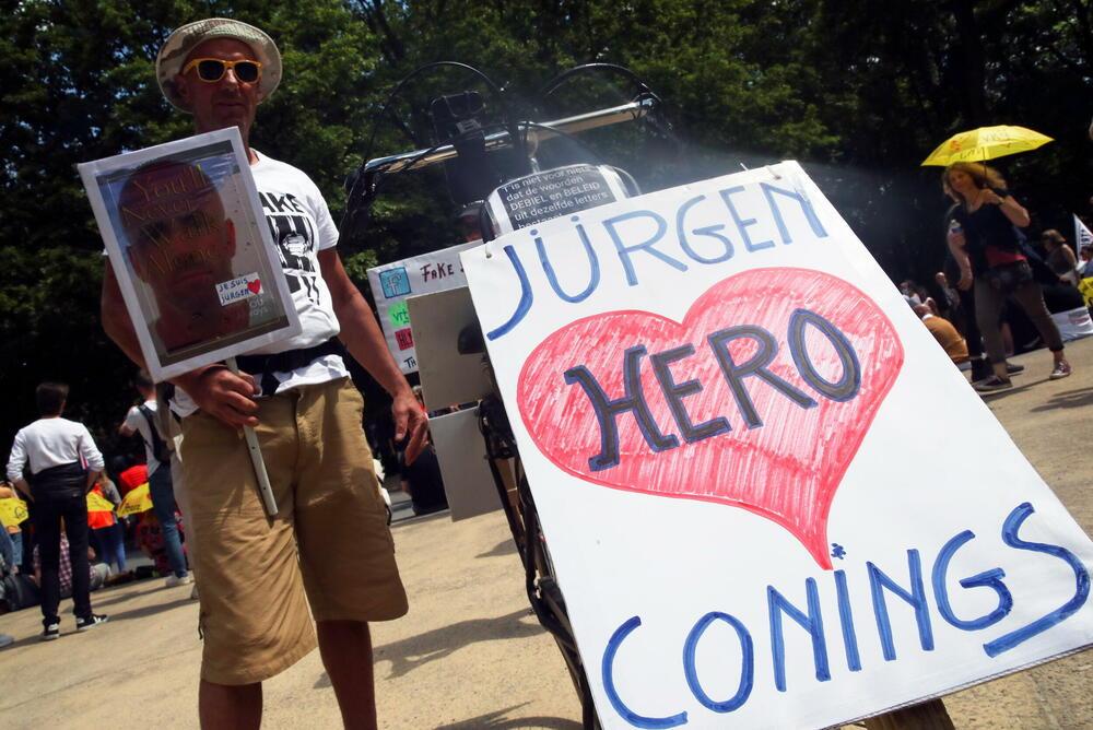Aus dem Protest zur Unterstützung von Jürgen Konings in Brüssel