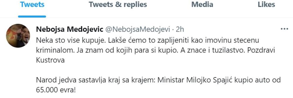 Tvit Medojevića