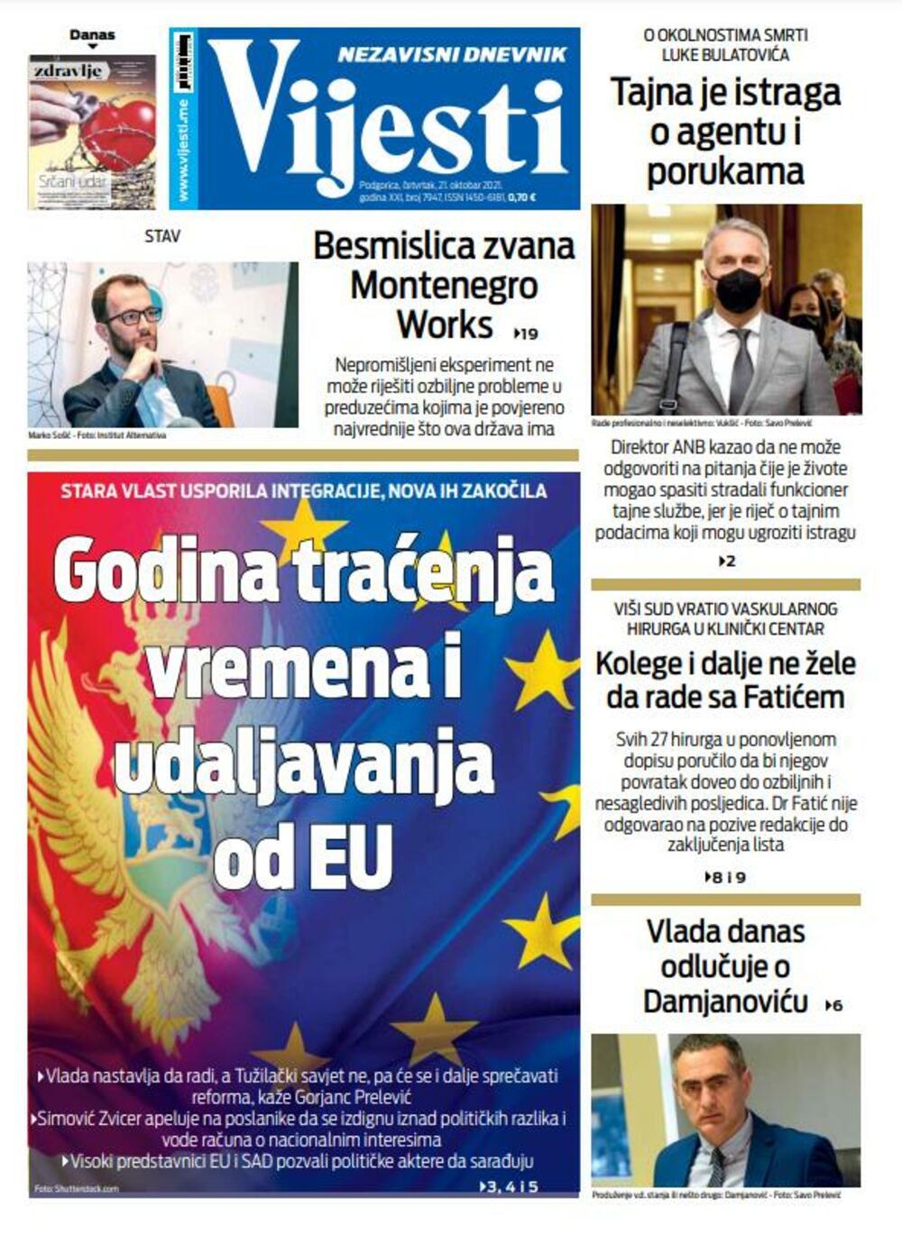 """Naslovna strana """"Vijesti"""" za četvrtak 21. oktobar"""