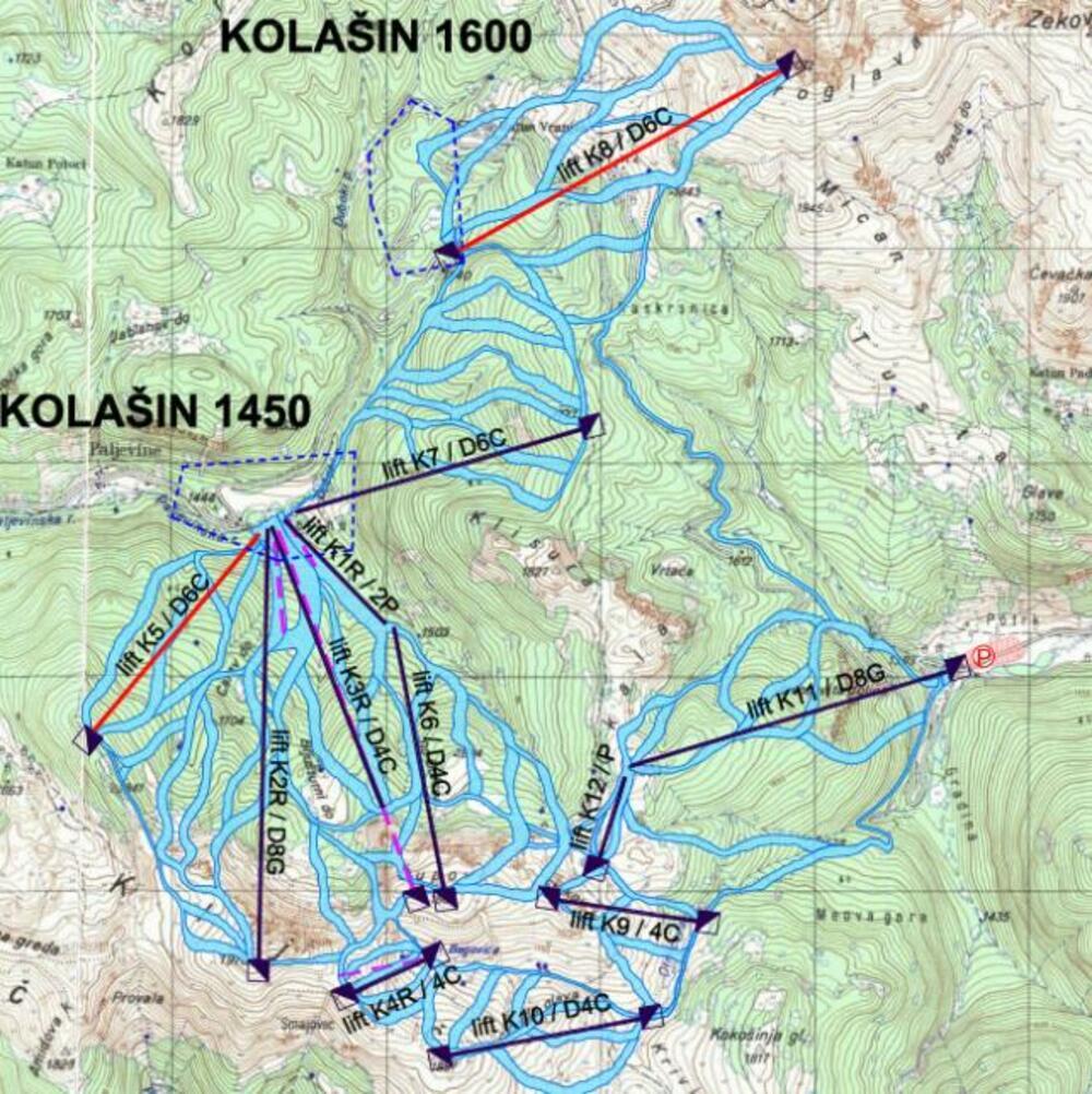 Mapa skijališta